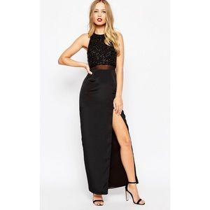 ASOS Column Maxi Dress Embellished Crop Top 0